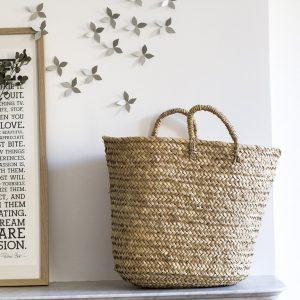 panier de rangement trendy little avec semis de fleurs argenté