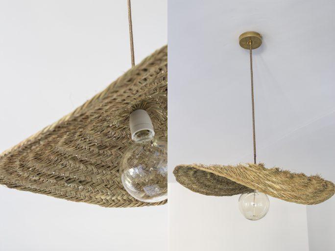 plafonnier trendy little fabriqué en esparto tressé, cable doré et pavillon en laiton