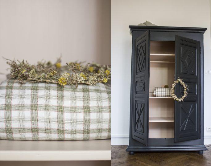armoire noire par trendy little avec couronne de fleurs et édredon bébé