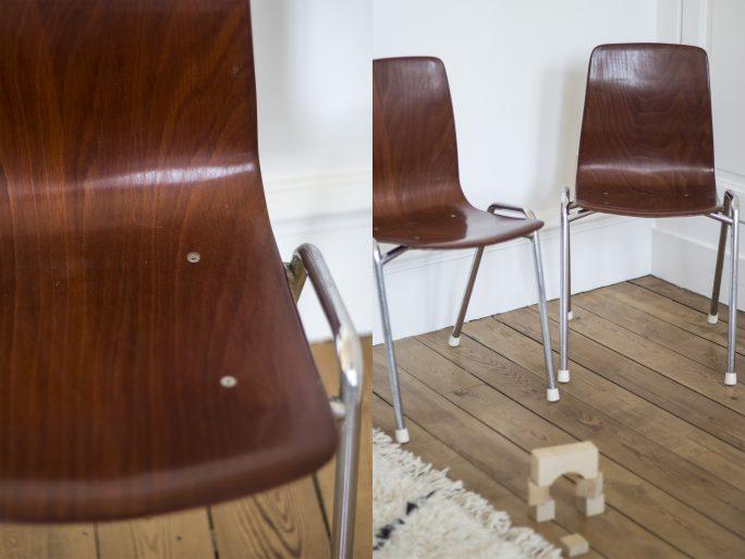 Chaise de bureau enfant fabriquée par Pagholz dans les années 60 et restauré par Trendy Little