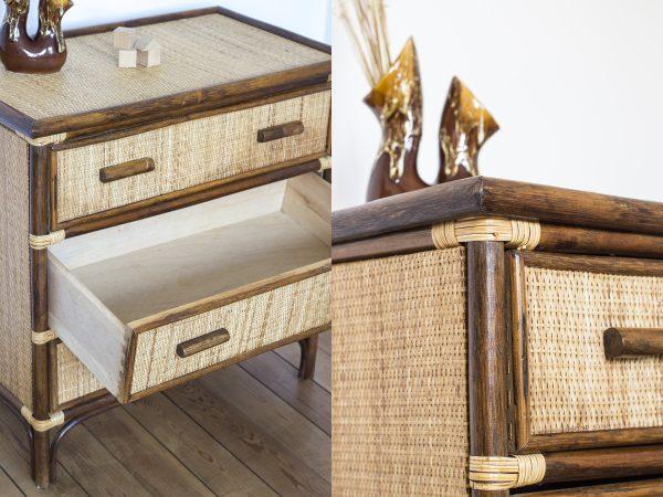 Commode vintage en rotin, à 3 tiroirs, restaurée dans l'atelier Trendy Little
