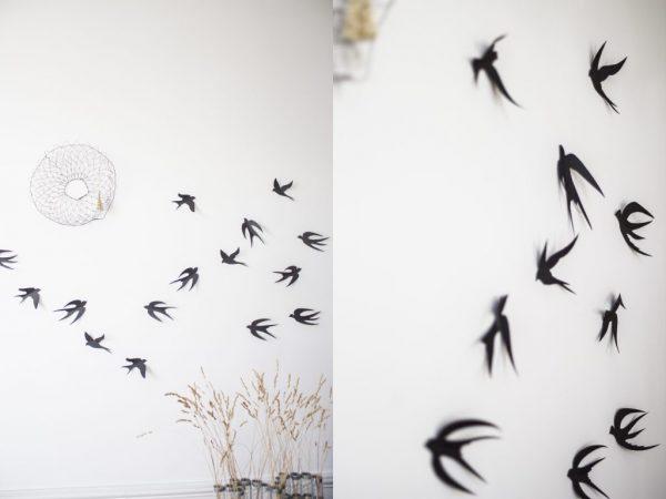 Décoration murale hirondelle en papier à fixer au mur, fabriqué à la main par Trendy Little