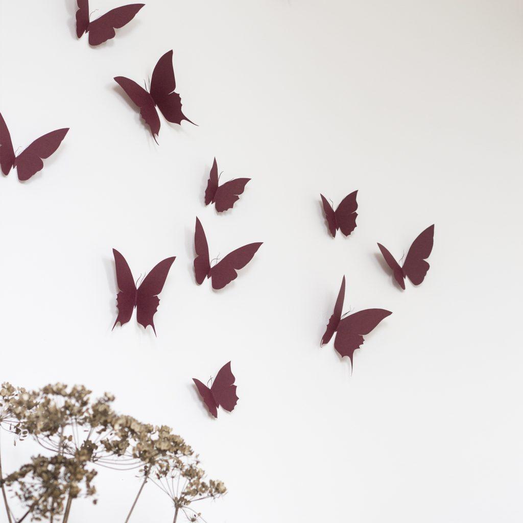 envolée de papillons en papier, à accrocher au mur, création trendy little