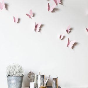 envolée de papier découpé main, coloris rose pale, par trendy little
