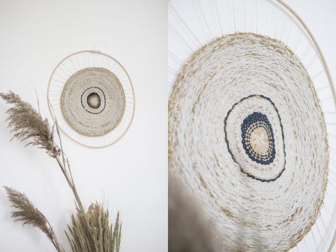tissage mural rond en laine, création trendy little