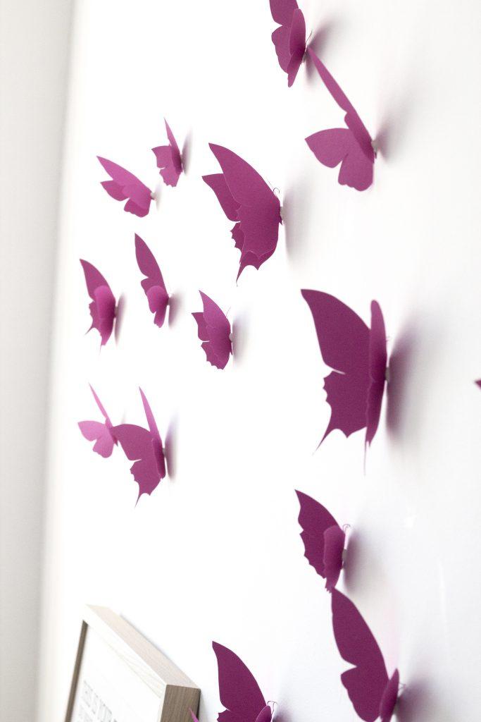 envolée de papier découpé main, coloris rose, par trendy little
