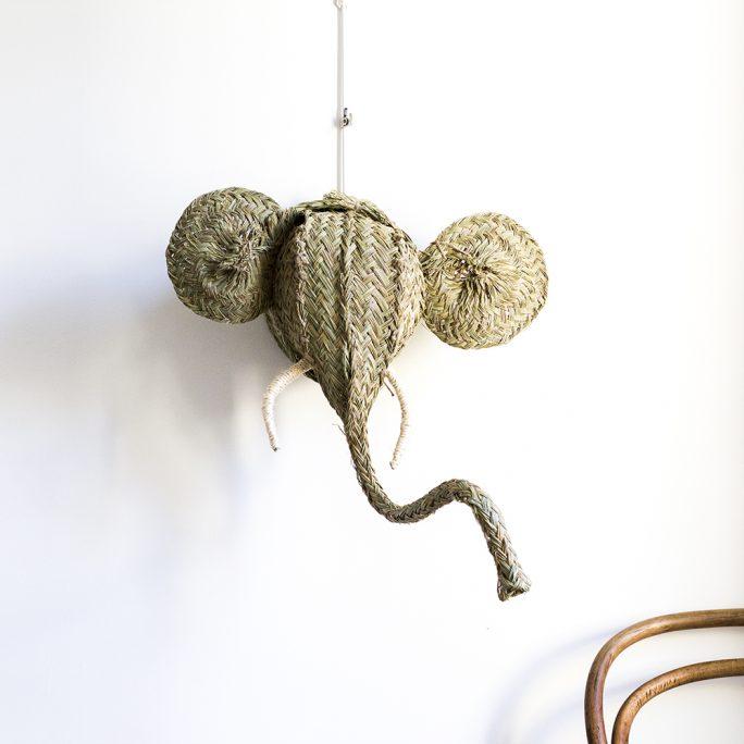 trophée mural tête d'éléphant en esparto, vendu par Trendy Little
