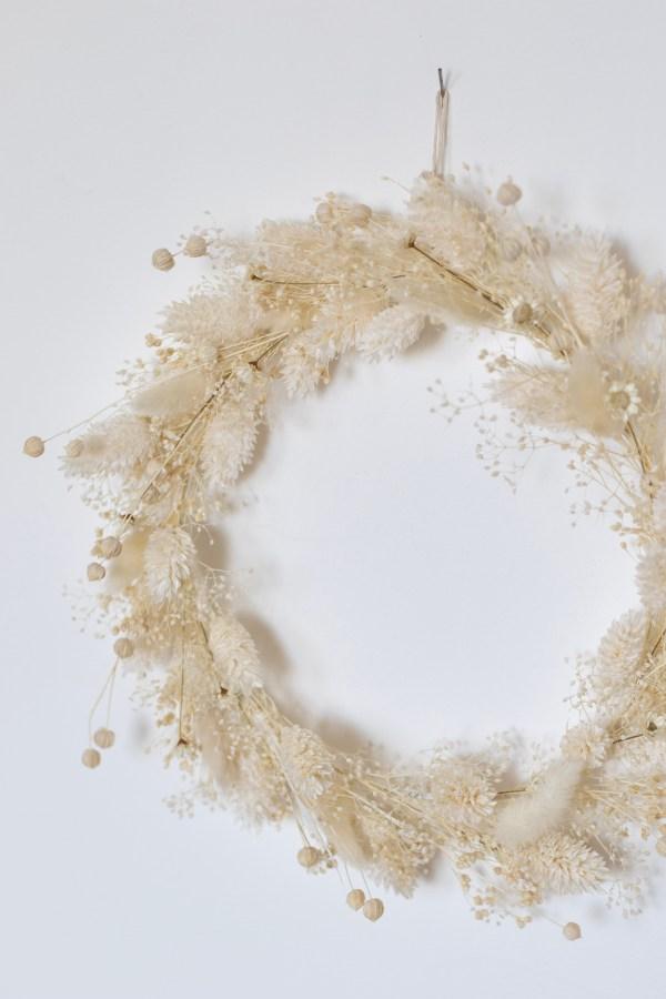 Couronne de fleurs séchées blanche Trendy Little
