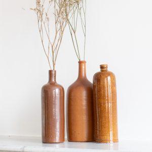 Vase et bouteille en grès et terre cuite vintage, restaurés par Trendy Little