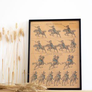 """Illustration, Image d'Épinal ancienne """"Spahis sénégalais, Spahis soudanais"""" encadrée dans un cadre vitré noir sur-mesure."""