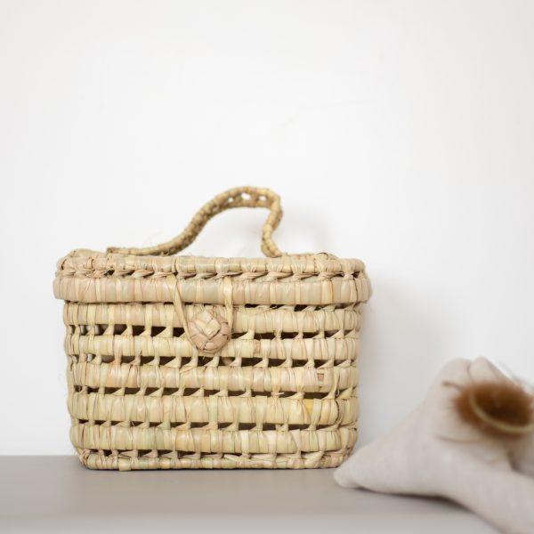 Valisette en palme tressé, joli panier de rangement fabriqué main au Maroc TRENDY LITTLE