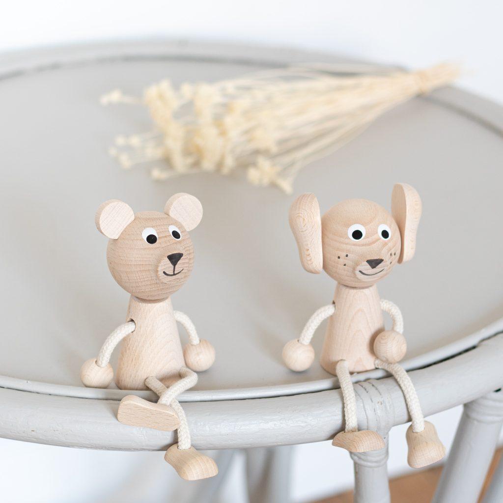 Chien et ours jouet en bois pour enfant, vendu par Trendy Little