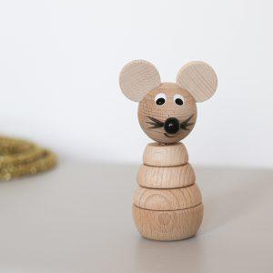 Souriceau jouet en bois à empiler vendu par Trendy Little
