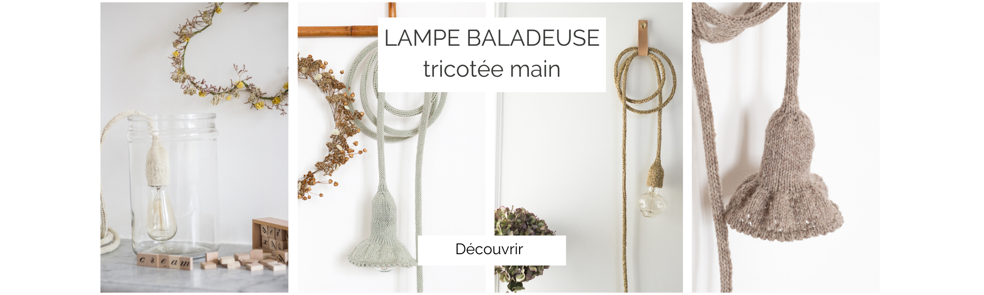 Lampe baladeuse tricotée main, création Trendy Little