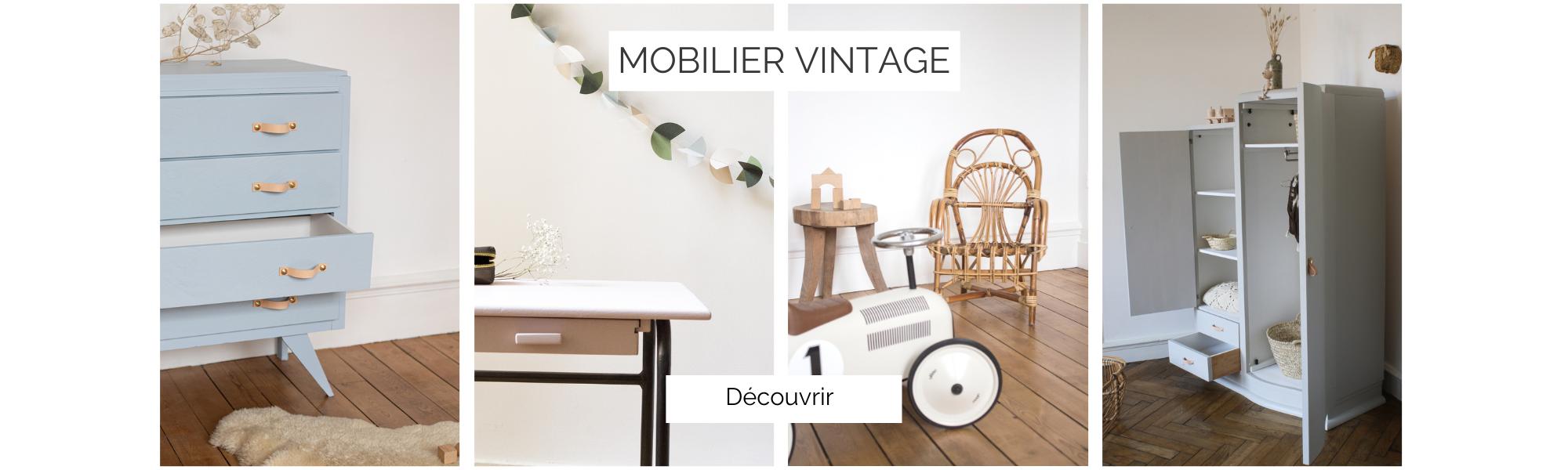 Mobilier vintage : armoire enfant, commode enfant, fauteuil en rotin enfant, bureau d'écolier vintage, restauré par Trendy Little