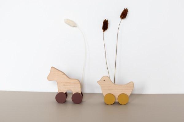 Cheval et oiseau jouet en bois Pinchtoys