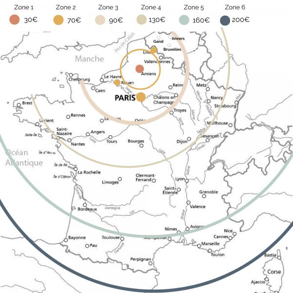 Carte de la France avec la tarification de livraison de meuble en fonction de la distance depuis notre Atelier (Amiens).